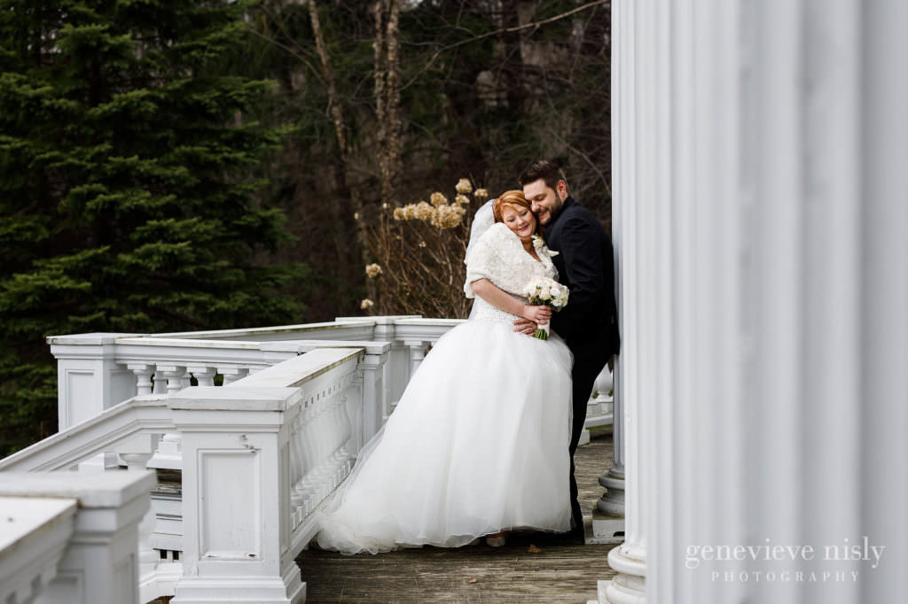 The bride and groom enjoying some time alone on their wedding day at Mooreland Mansion.