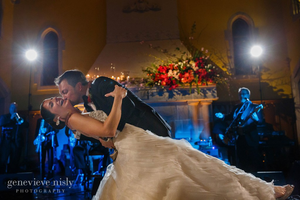 Groom dips the bride during their wedding at Glenmoor Country Club.