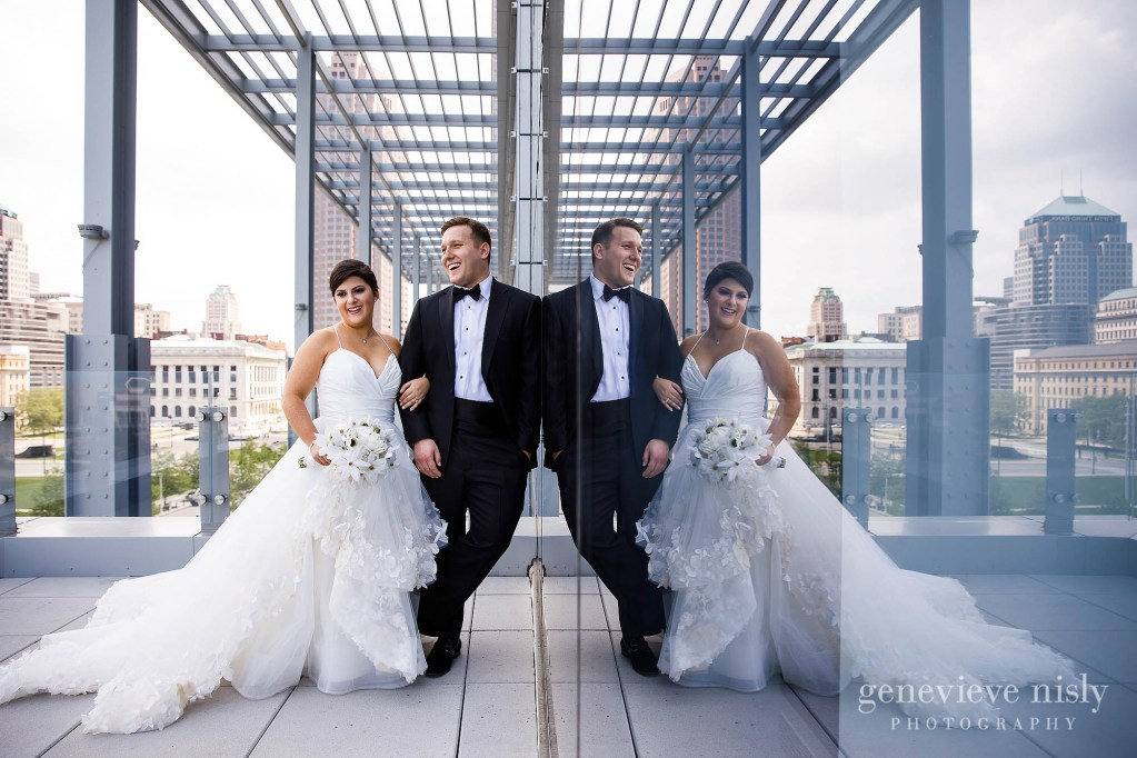 Gabby and Rex on the patio during their wedding at the Hilton Downtown Cleveland.