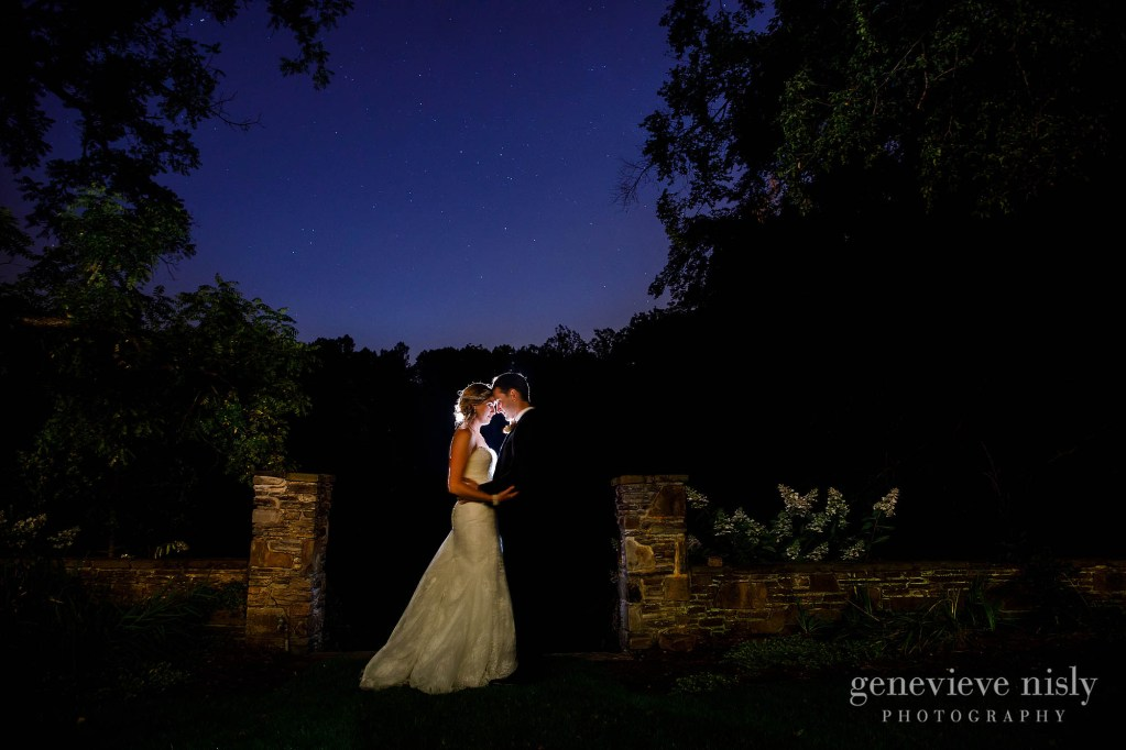Brian and Sara under the stars during the Club at Hillbrook Wedding in Cleveland, Ohio by wedding photographers, Genevieve Nisly Photography.