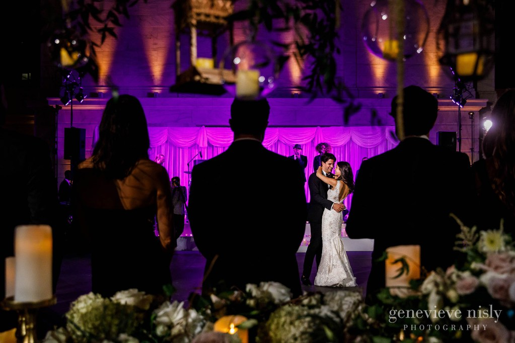 Mark and Amanda share their first dance during their wedding at the Cleveland Museum of Art.