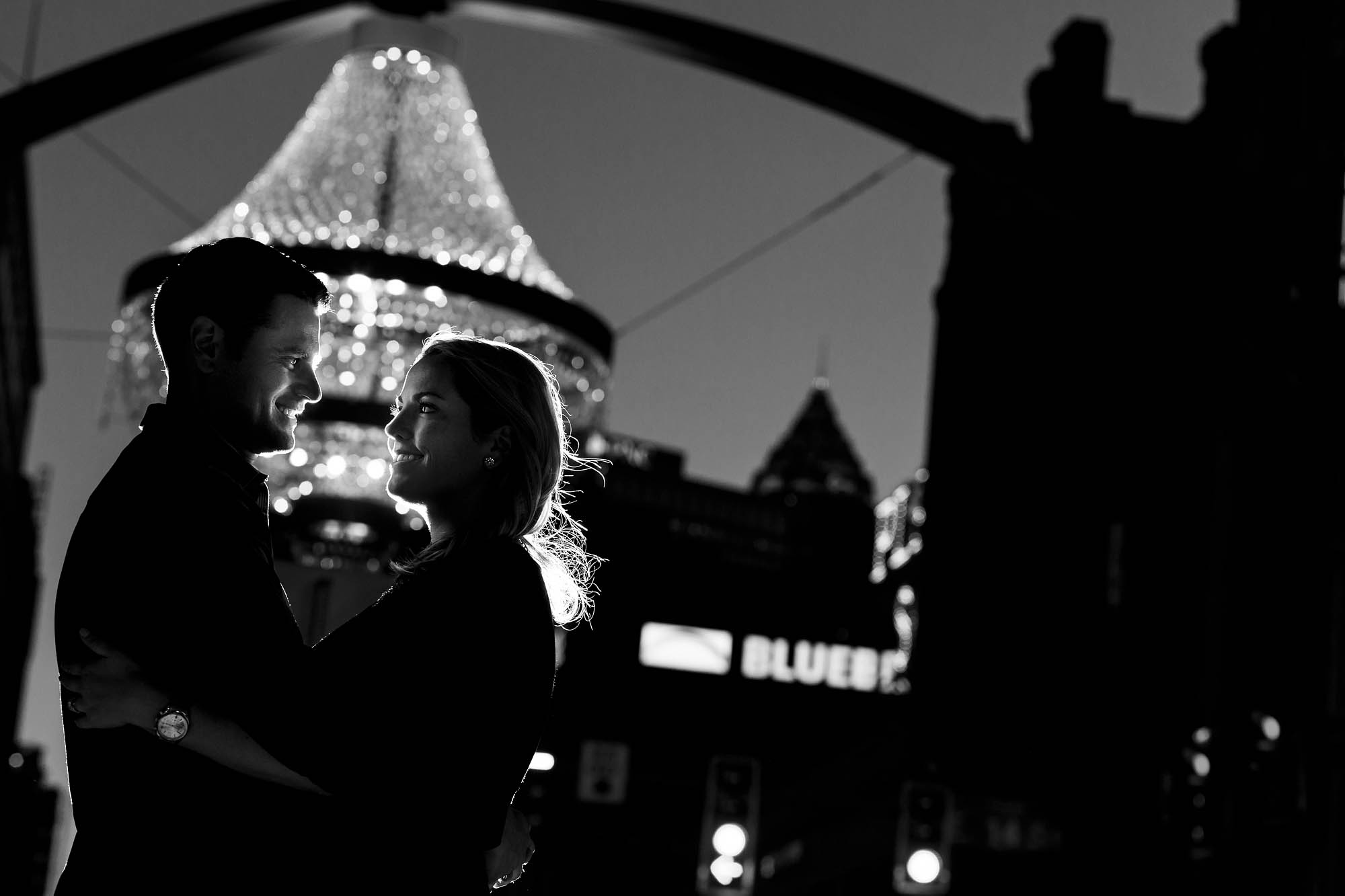 Engagement session by the Playhouse Square chandelier in Cleveland, Ohio.