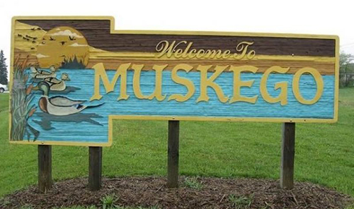 'Welcome to Muskego' sign