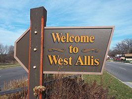 Welcome to West Allis Wooden City Limits Sign