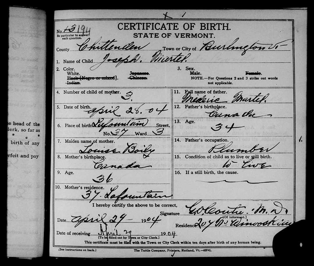 10 Image of Birth Certificate for Joseph Martel