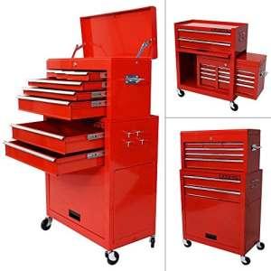 Chariot à outils – Servante d'atelier rouge – coffre malle rangement amovible