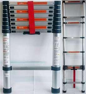 DP Design® Escabeau télescopique extensible aluminium 2,6m Échelle télescopique 2.60