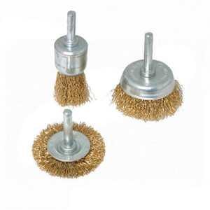 Silverline 985332 Jeu de 3 brosses métalliques Queue de 6 mm