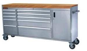 182,9cm poitrine Banc de travail Boîte à outils en acier inoxydable Armoire Placard Meuble 10Tiroirs