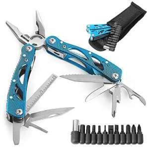 Aodoor acier inoxydable Multifonction Pinces, Outil multifonctions Avec embouts de vissage 11 embouts de vissage (bleu)
