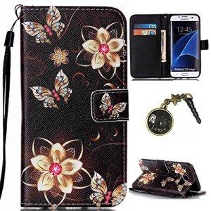 PU Cuir Coque Strass Case Etui Coque étui de portefeuille protection Coque Case Cas Cuir Swag Pour( Samsung Galaxy S7 Edge)+Bouchons de poussière (5II)