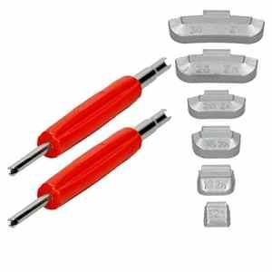 ECD Germany 225x Masse d'équilibrage pour jantes en acier 5-30g + 2x Extracteur à soupape rouge