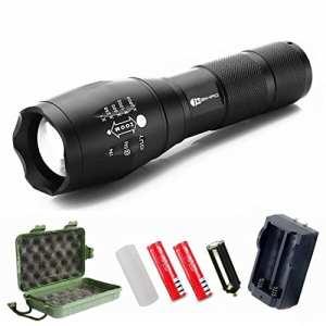 Juzihao Torche Lampe de Poche LED Zoomable et Rechargeable avec 5 Modes, Ultra Puissante 1000LM Camping Militaire Lampe étanche,Antichoc,Anti-dérapant(Pile rechargeable incluse)