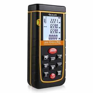Tacklife Télémètre Laser Numérique 60m Avancé avec LCD Rétro-éclairage Metre Laser Calcule Distance Surface Volume pour Bricolage avec 2 Piles et Sac de Protection