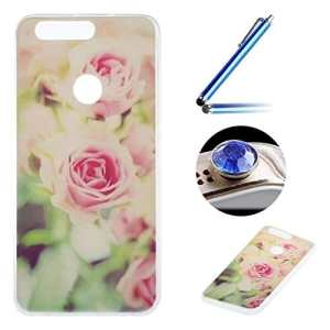 Etsue Doux Protecteur Coque pour [ Huawei Honor 8 ],TPU Matériau Frame est Transparent Soft Cover pour Huawei Honor 8,Coloré Motif par Dessin de Mode Case Coque pour Huawei Honor 8 + 1 x Bleu stylet + 1 x Bling poussière plug (couleurs aléatoires)-Rose romantique