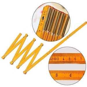 Hunpta NEUF en bois bâton de Yard Règle pliable Bois Carpenter métrique outils de mesure 200cm, jaune