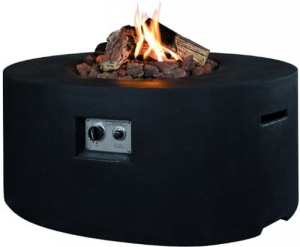 Happy Cocooning gaz ovale Cheminée de table avec briquet, Couleur: Noir