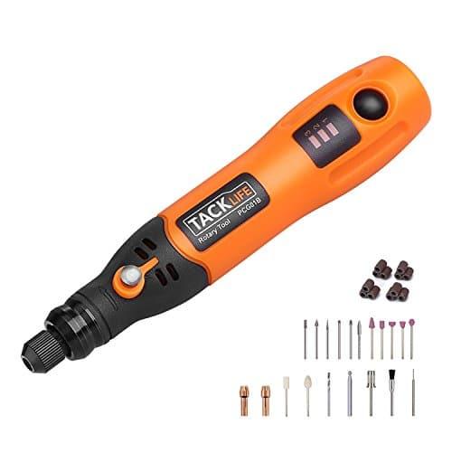 ♫Offres de Fêtes♫Outil Rotatif Mini Tacklife PCG01B 3.7V DC sans Fil /3 Vitesses Rotatives /Protection Contre Les Surcharges /31 Accessoires /Micro USB /Batterie au Lithium /Sculpter /Découper /Polir