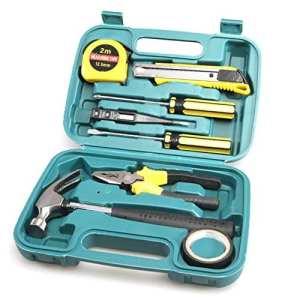 Kit d'outils Hardware pour la réparation à la maison de 9pièces, kit d'outils de réparation pour la maison d'outils en plastique pour la réparation à la maison d'outils en plastique