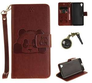 PU Cuir Coque Strass Case Etui Coque étui de portefeuille protection Coque Case Cas Cuir Swag Pour Sony Xperia X Performance +Bouchons de poussière (10VI)