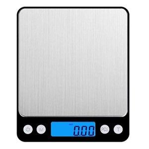 AMIR Balance de Cuisine, 3kg/0.1g, Balance de Precision, Écran LCD Rétroéclairé, Fonction de Tarage + Fonction de Comptage, 2 Pallets (Acier Inoxydable, Noir)