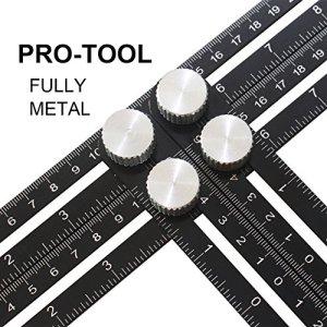 Outil de modèle d'angle, Règle de mesure mise à niveau Multi Angle Template Tool pour Handymen, Builders, Craftsman – Matériau d'alliage d'aluminium Premium