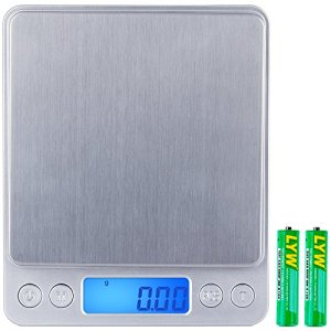 Zacro Balance de Digitale Précision Balance de Poche 500g x 0. 1g, Balance de Cuisine Balances de bijoux Mini Balance Electronique d'Écran LCD Rétroéclairé, Fonction de Tarage et Comptage avec 2 Plateaux et 2 Batteries (Argent)