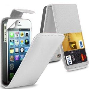 (Blanc) Apple iPhone 5 / 5S Personnalisée Faites en simili cuir de débit / carte de crédit logement Flip cas couvrir la peau &protecteur d'écran protecteur par * Aventus *