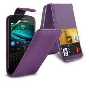 (Purpule) Blackberry 9720 Personnalisée Faites en simili cuir carte de débit/crédit logement Flip cas couvrir la peau &protecteur d'écran protecteur par * Aventus *