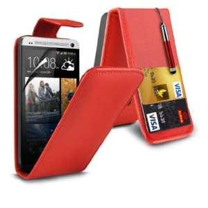 (Rouge) HTC One Mini M4 Personnalisée Faites en simili cuir Flip cas couvrir la peau, Capacative escamotable Écran tactile Stylet &protecteur d'écran protecteur par * Aventus *