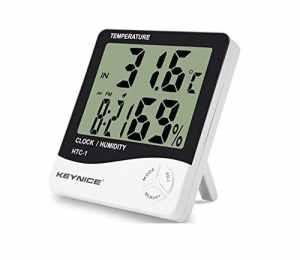 Keynice Intérieur Thermomètre et hydromètre pour maison ou bureau avec LCD digital affichage réveil numérique HTC-1