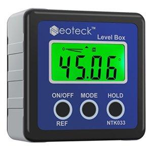 Neoteck Mesureur Angle Mesure Angle Digital LCD Goniomètres Numériques Coque Chanfrein Inclinomètre Protractor Imperméable Pour Mesurer l'Angle Voiture Travail