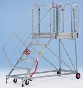 Plate-forme mobile XXL – marches grillagées – 8 marches, hauteur marche sup. 1840 mm – escalier escaliers marchepied marchepieds plate-forme mobile plates-formes mobiles échelle échelle en acier échelles échelles en acier Escabeau Escabeaux Escalier