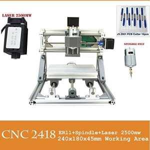 PW Mini Diy CNC2418 +2500 mw Laser GRBL control, 3Axis pcb pvb Milling machine, Wood Router Engraver CNC 2418