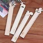 4X Toruiwa règles en bois règles Règle Dessin animaux mignons en forme de mesure règles des outils d'apprentissage étudiants Cadeau 15cm (Cerf + Bird + écureuil + Canard)