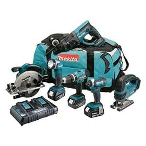 MAKITA Pack 6 machines DLX6068PT avec 3 batteries 18V 5Ah Li-ion, sac de transport et chargeur DC18RD