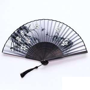 Doitsa Éventail Pliant Bambou Ventilateur de Tissu Ethnique Loisirs et Élégance Style Sakura Ventilateur à La Main Tissu