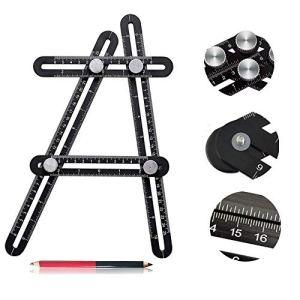 Multi-Angle Règle Ruler Mesure,Angle-Izer Aluminium Pro, Règle Multi Angle Template Tool,Instrument De Mesure d'Angles (Outil Angle-Izer) Regle Avec Un Marqueur
