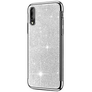 SainCat Coque Huawei P20, Coque Huawei P20 Glitter Paillettes Ultra Slim Silicone 3 in 1 Antichoc Coque pour Huawei P20-Argent