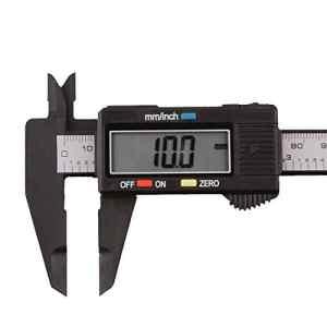 Sunnymi Outil de mesure en fibre de carbone électronique numérique 150 mm/15,2 cm A Noir