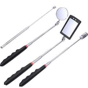 4 Pièces Outil de Préhension Magnétique avec Lumière LED Comprenant 8 Lb/ 1 Lb Tige de Ramassage et Miroir d'Inspection Rond/Carré, Poignée Télescopique 360 Pivotante à 360 °