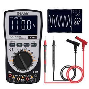 LM2001 Digital Oscilloscope Multimeter, LIUMY Multimètre Forme d'Onde Automatique Petit Oscilloscope, Plage Automatique 4000 Bits, 5-500KHz, Affichage Précis Forme d'Onde AC/DC, Ecran Couleur