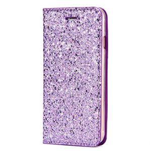 SainCat Coque Galaxy Note 8, Ultra Slim Portefeuille Bling Bling Flip PU Cuir Paillette Glitter Fonction Support Antichoc Coque pour Samsung Galaxy Note 8-Pourpre