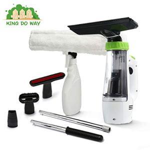 Aspirateur Nettoyeur de fenêtre, KING DO WAY Multi-fonction Aspirateur à Vitre Électrique Nettoyeur de vitre avec 4 Types de brosse, manche rallongée, Spray nettoyant avec tissu en microfibre