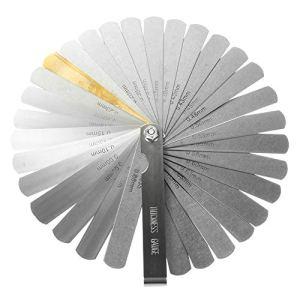 ✮GARANTIE A VIE✮-CZ Store®-Jauge d'epaisseur✮✮Marque Française✮✮-jeu de cales d'epaisseur 32 lames en acier inoxydable|TAILLE 90 MM|cale mecanique double unité de mesure pour moteur/bougie/soupapes