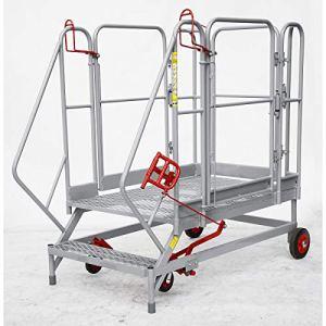 Plate-forme mobile XXL – marches grillagées – 2 marches, hauteur marche sup. 460 mm – escalier escaliers marchepied marchepieds plate-forme mobile plates-formes mobiles échelle échelle en acier