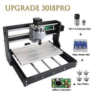 Vogvigo Mise à niveau de la version CNC 3018 Pro GRBL Control DIY Mini Machine CNC,Fraiseuse de carte PCB de 3 axes,Graveur de routeur à bois avec contrôleur hors ligne, avec rallonge ER11 et 5mm