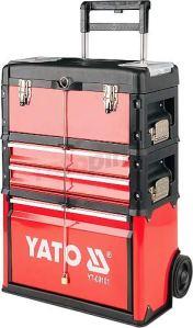 Yato YT-09101–Caisse à outils à roulettes avec 3parties
