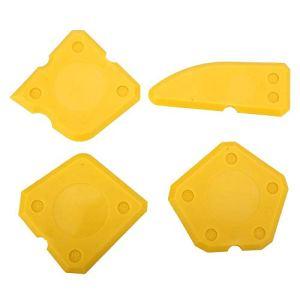 NITRIP 4pcs outils de calfeutrage kit grattoir à ciment verre de silicone pour la finition de scellement de coulis d'étanchéité(Jaune)