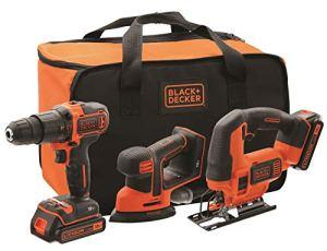 BLACK+DECKER BCK31S1S-QW Kit Perceuse à percussion, Scie sauteuse et Ponceuse de détail Mouse sans fil – Livré en sac de rangement, 18V, 2 Batteries